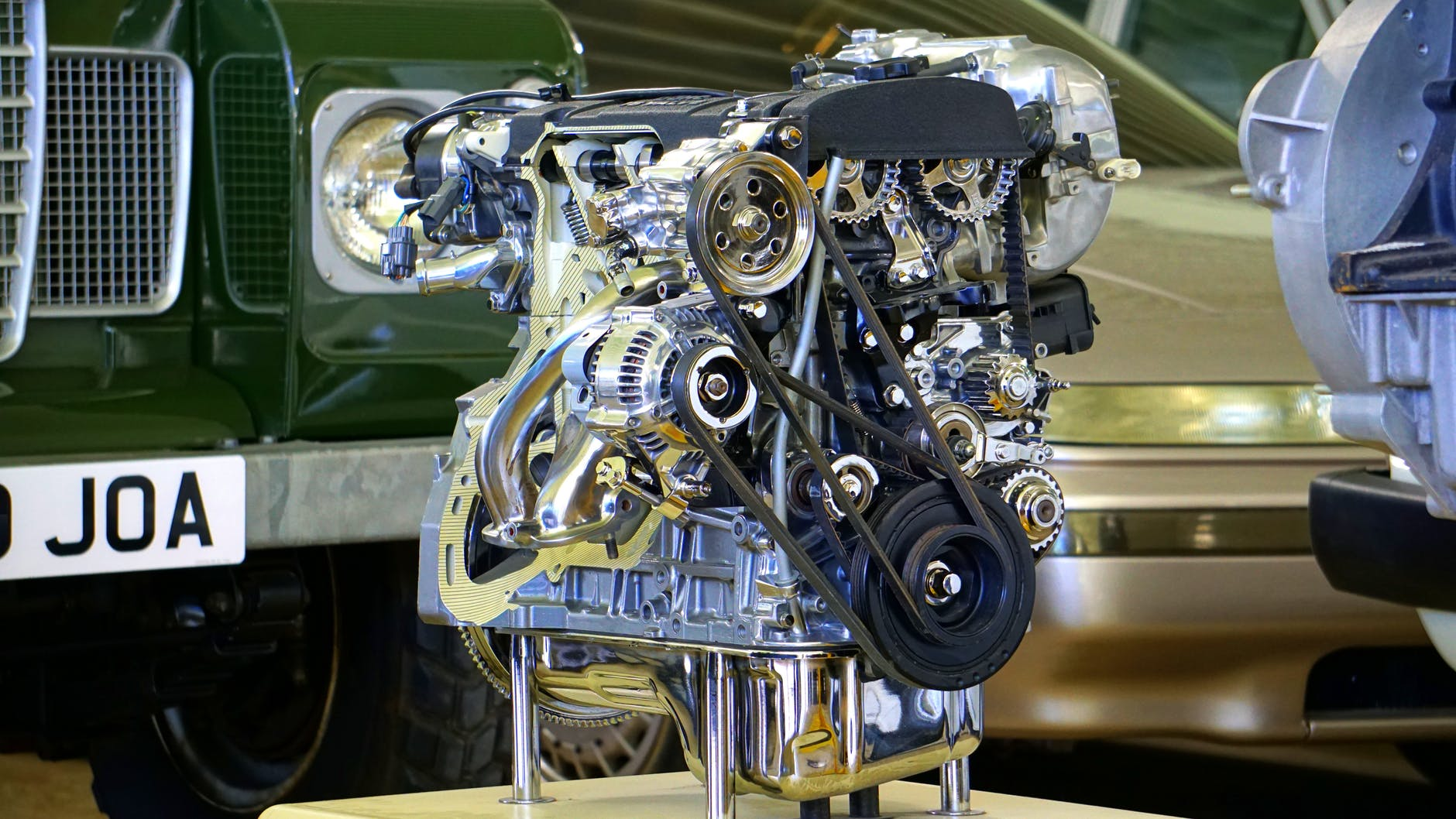 chrome and black engine display