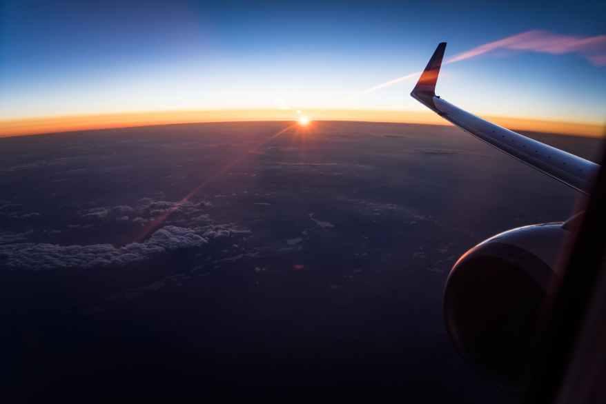 plate flight sky sunset